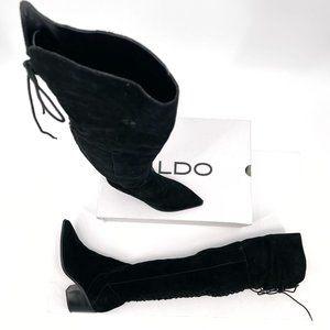 ALDO Black Suede Haskova Lace Up Thigh OTK Boots